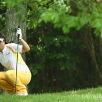 ティショットが林の中に入って、すごい怒ってます 2009年 ニチレイPGMレディス 2日目 大場美智恵