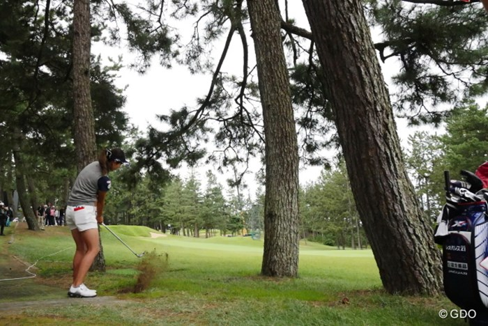 トラブルからのインテンショナルフックは成功?失敗? 2015年 日本女子オープンゴルフ選手権競技 初日 藤田幸希