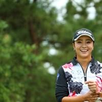 やだーマキちゃん、また変なところ撮ったでしょー!って。?「はい」。 2015年 日本女子オープンゴルフ選手権競技 3日目 三塚優子