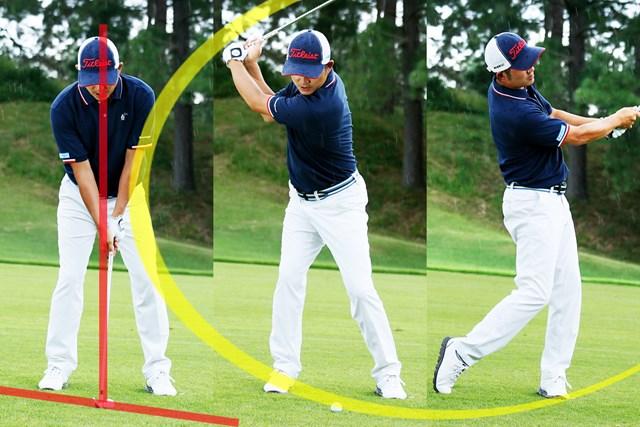 (画像6枚目) 左足下がりのショット「アウトサイド・イン軌道」or「通常通り」、どっち? やや「右足体重」で構えた場合のショット