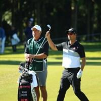 キャディとして通算100勝を誇るスティーブ・ウィリアムス。心強い相棒を日本にも連れてきた 2015年 日本オープンゴルフ選手権競技 2日目 アダム・スコット