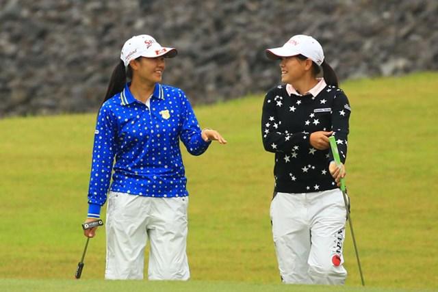 今日は同組でのラウンドでした。女子ゴルフ界の将来を担うであろう2人。10年後、いや5年後にはもうビッグペアリングになってそうですよね。