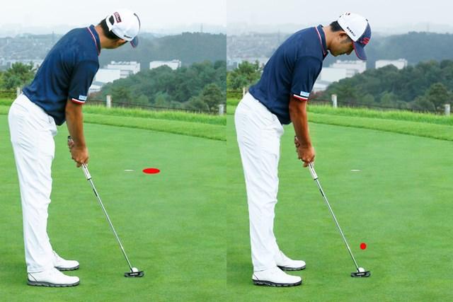画像 パットの目印「仮想カップ」or「スパット」、どっち?/教えて貞方章男編 画面は2カップ分フックラインの場合