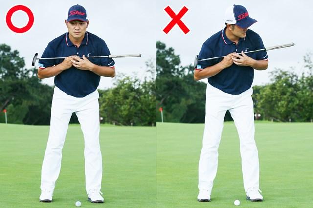 (画像7枚目) パットの目印「仮想カップ」or「スパット」、どっち?/教えて貞方章男編 目印が遠いと、アドレスで左肩が開きやすい