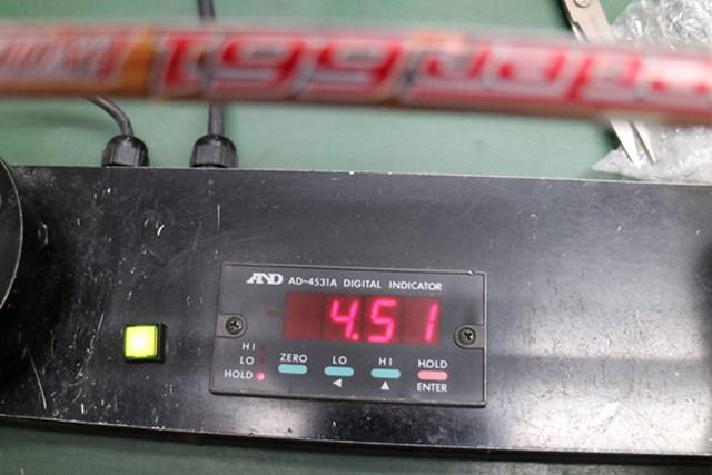 センターフレックス値は4.51。60g台のSフレックスとしては平均的な数値だ