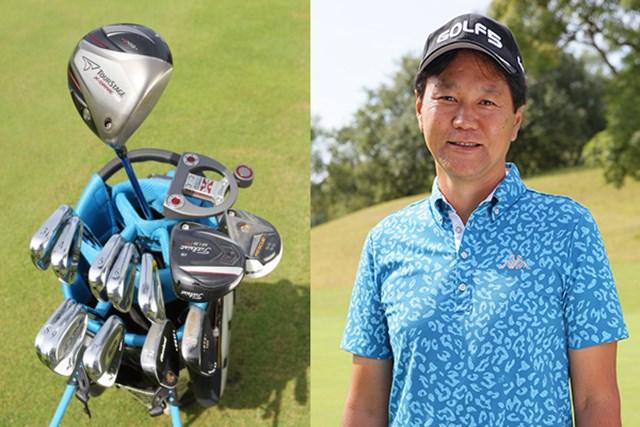 ゴルフ5カントリー オークビレッヂ1_5 (写真右)比嘉強プロはさわやかな笑顔が印象的。(写真左)プロのクラブセッティング。メーカーが統一されておらず、独自の深いこだわりがうかがえる