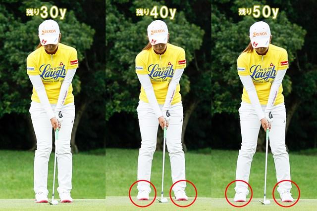 (画像5枚目) 微妙な距離の打ち分けは「振り幅」or「スイングスピード」、どっち? 足の意識だけに集中できるのでシンプル!