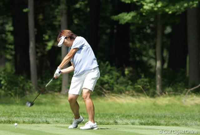 2009年 全米女子オープン 初日 福嶋晃子 パワーは十分だが、方向性に不安定さがあった。