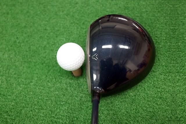 ヘッド形状はオーソドックスな丸型で、投影面積が大きい。ややシャローフェースなので、ボールが上がりやすいイメージが湧く