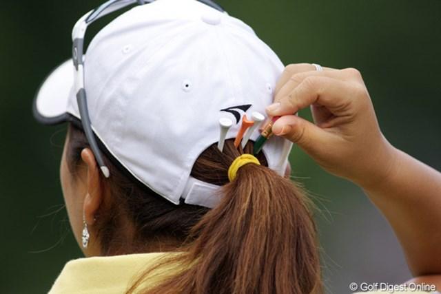 2009年 全米女子オープン 2日目 宮里美香 鉛筆、ティーペグ…ポケット代わり。
