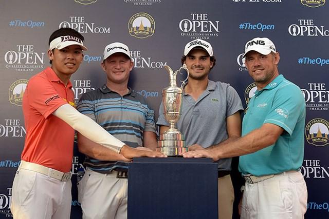 全英オープン出場権を得た4人。写真左からP.コンワットマイ、J.ドナルドソン、C.ソルデ、L.ウェストウッド ※画像提供:アジアンツアー