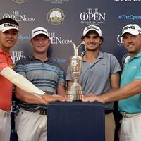 全英オープン出場権を得た4人。写真左からP.コンワットマイ、J.ドナルドソン、C.ソルデ、L.ウェストウッド ※画像提供:アジアンツアー 2015年 タイランドゴルフ選手権 最終日 上位4人