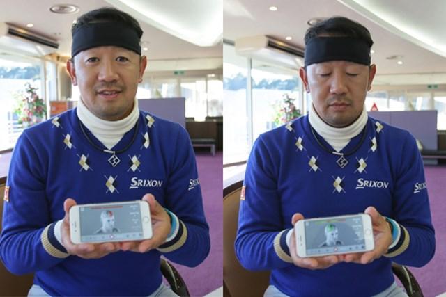 田島プロが頭に巻くバンドから脳波を計測し、画面を通して左脳と右脳のモード切り替えを行う。目を閉じた状態(右写真)が右脳モードで、画面の脳の色の変化が分かる