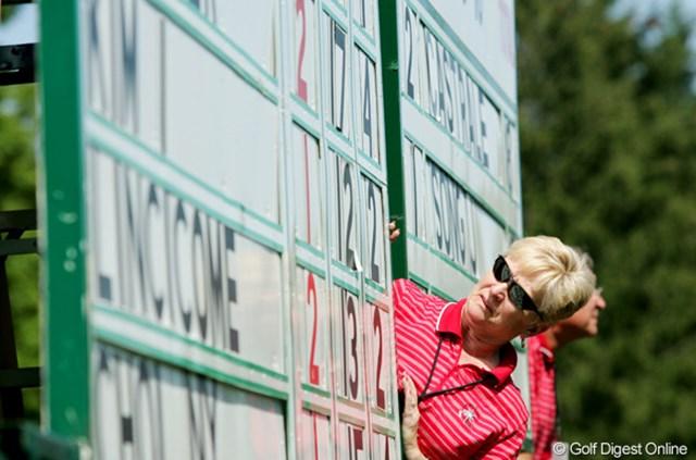 2009年 全米女子オープン 最終日 リーダーボード ボランティアが手作業で数字を取りかえる