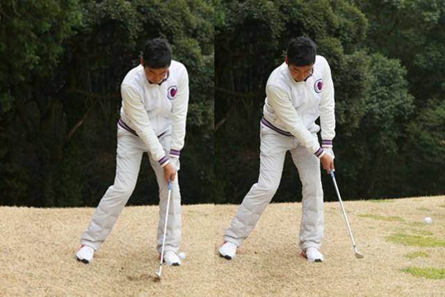 左足下がりのライで、下り傾斜のグリーン面に落とす難解のアプローチ。傾斜に沿ってクラブを動かすことがポイント