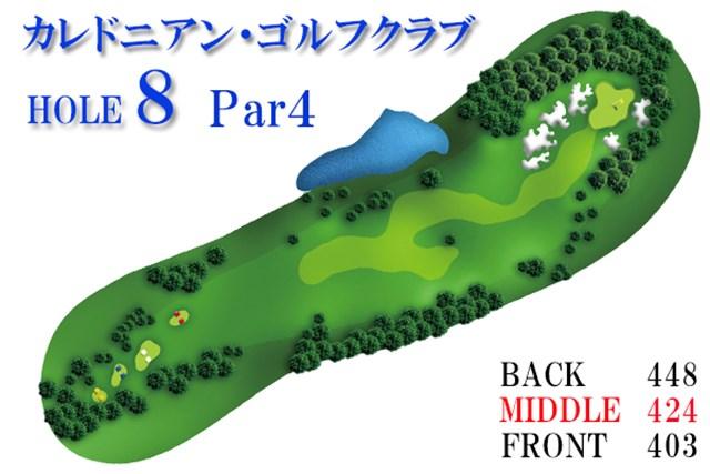 カレドニアン・ゴルフクラブ後編_1_2 フェアウェイが二手に分かれ、右サイドは欅の木が目印。コースを通してアンジュレーションがきつく、高度なセカンドショットが要求される。グリーン周辺にはベースボールグラブ・サンドトラップが待ち受ける