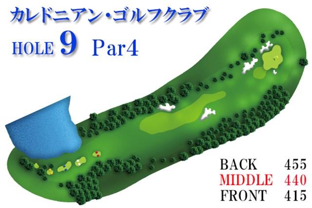 カレドニアン・ゴルフクラブ後編_1_5 ティショットは右サイドの崖に落とすと、大叩きの危険性が高まるので注意。シンボリックな四つ葉のクローバー型のグリーンは傾斜が入り組んでおり、落としどころを誤ると勢いよくグリーン下まで落とされる