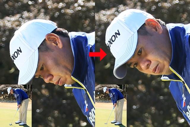 アドレス時(画像左)から既に顔がやや左に傾いている
