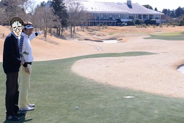 カレドニアン・ゴルフクラブ後編_1_7 3打目地点のやや手前に、残り150ヤードの目印。難関なグリーンを前にN村は自信なさげだが、ショットの狙いどころをきちんと把握することが重要