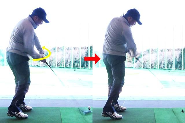 良いときはフォローできれいに右手が飛球線方向へ伸びる
