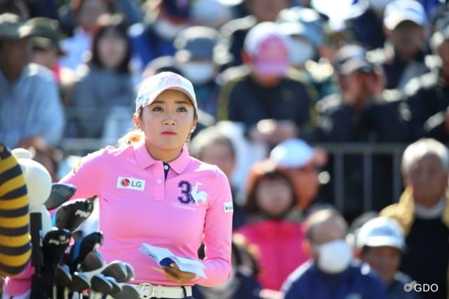 イ・ボミ 世界ランク16位に上がったイ・ボミだが韓国勢では8番手。リオ五輪代表争いは熾烈を極める(※撮影はヨコハマタイヤゴルフトーナメント PRGRレディスカップ2日目)