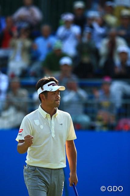 上がり2ホールで連続バーディを奪った池田勇太。最終ホールではこのガッツポーズ