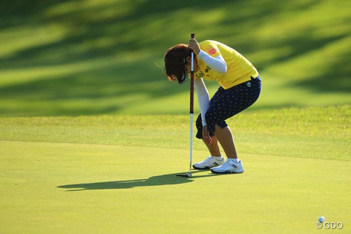15番、「なんで入ってくれないのよぉ~。」 2016年 サイバーエージェント レディスゴルフトーナメント 2日目 福嶋浩子