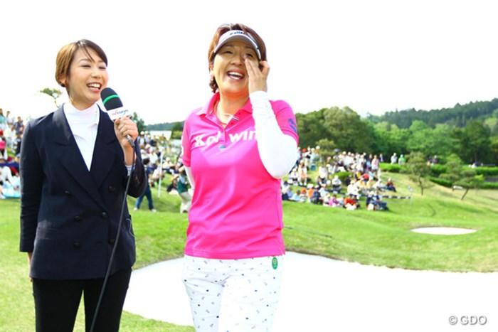 笑いあり、涙ありの優勝インタビュー 2016年 サイバーエージェント レディスゴルフトーナメント 最終日 福嶋浩子