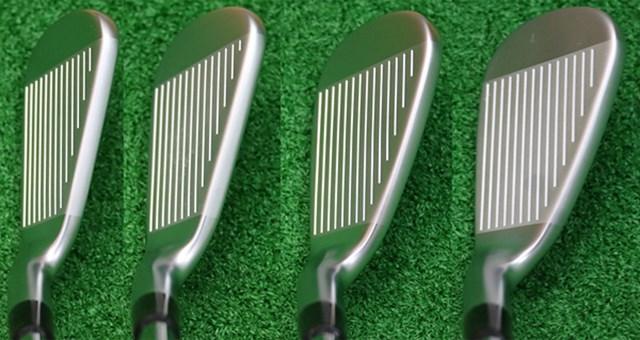 キャロウェイゴルフ APEX アイアン(2016年) マーク試打 (画像 2枚目) 左から6番、7番、8番、9番のヘッド形状。軟鉄鍛造にしては大きめのヘッドは、視覚的に安心感がある。