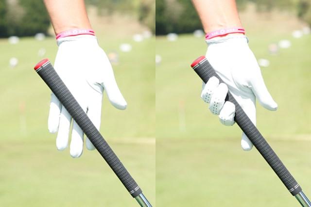 小指の付け根から人差し指の先に向かって、クラブは斜めに横切ります。ライ角に沿って握ると指先で握る形になります