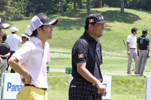 2016年 関西オープンゴルフ選手権競技 事前 中嶋常幸 中島マサオ 親子で練習ラウンド。和やかな雰囲気で9ホールをプレーした
