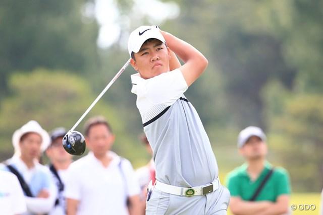 2016年 関西オープンゴルフ選手権競技 初日 三田真弘 頼もしい表情でプレーする14歳・三田真弘が首位と1打差の好発進を決めた
