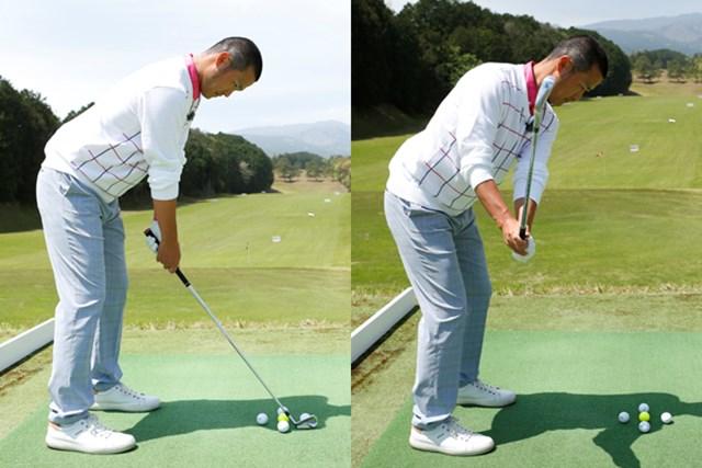 体からボールまでの距離が遠くなると、スイングがアウトサイド軌道になり、球がつかまりにくくなる(右に曲がる)ことを知っておきましょう