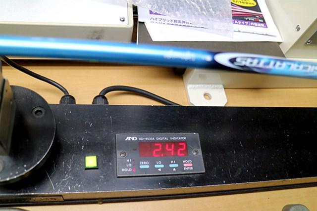 センターフレックス値は2.42。30g台でトルクは7.8だが挙動は安定している