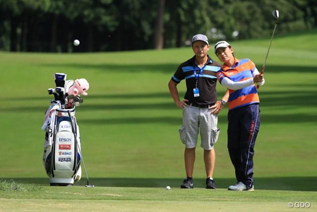 2016年 KPMG女子PGA選手権 事前 横峯さくら 耐えるゴルフが求められるメジャー大会。横峯はショートゲームも入念にチェックした。