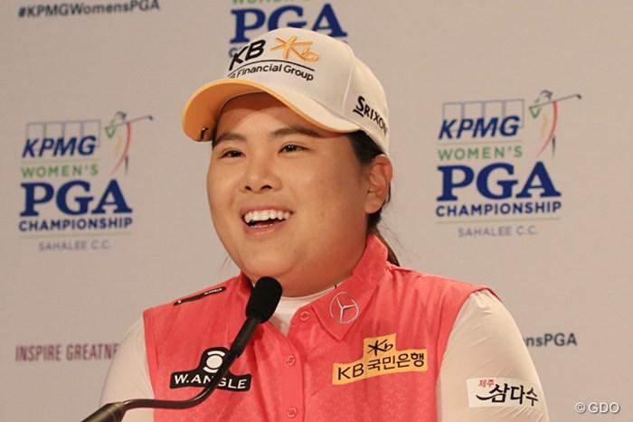 記者会見では笑顔で抱負を語った朴仁妃。怪我の状態が改善していることが、なによりの吉報だ。 2016年 KPMG女子PGA選手権 事前 朴仁妃