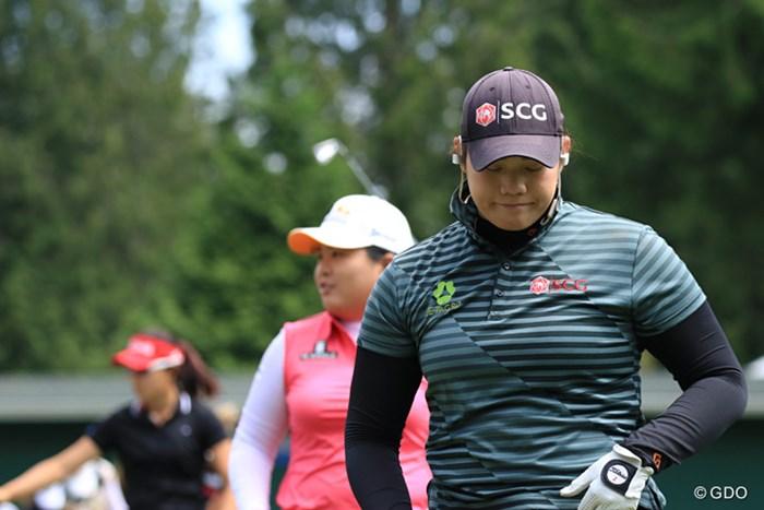 手前ジュタヌガン、奧は朴仁妃。貫禄ある2人が並んで練習をした 2016年 KPMG女子PGA選手権 事前 アリヤ・ジュタヌガン 朴仁妃