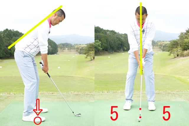 体重配分によって弾道を自在にコントロール~第6回~ 今さら聞けないスイングの基礎 画像2 ニュートラルな体重配分は拇指球と土踏まずの間で、左右の配分は均等に