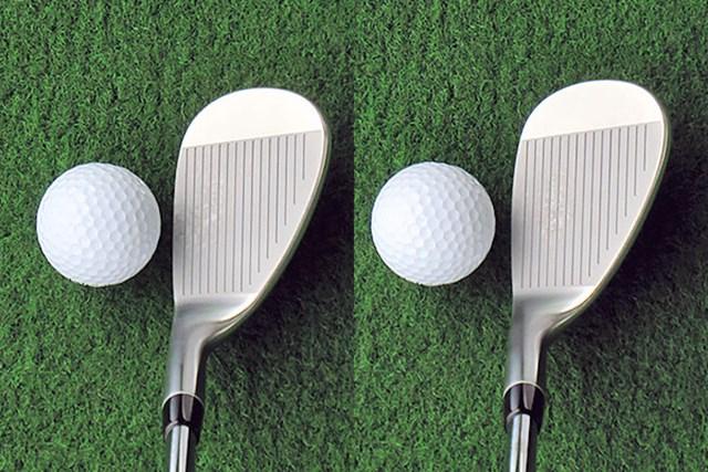 フォーティーン RM-22 ウェッジ 構えたときの画像 「ミドルマッスル・ブレード×デルタ・ソール」(左)、「リバースマッスル・ブレード×リッジ・ソール」(右)