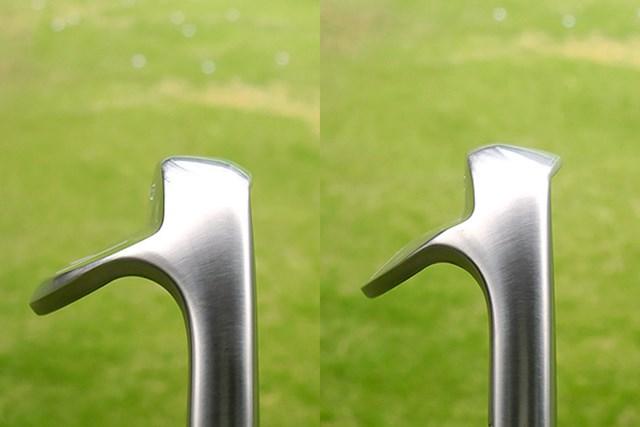 フォーティーン RM-22 ウェッジ ヒール側からみた画像 「ミドルマッスル・ブレード×デルタ・ソール」(左)、「リバースマッスル・ブレード×リッジ・ソール」(右)