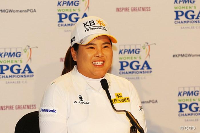会見では満面の笑み 2016年 KPMG女子PGA選手権 初日 朴仁妃