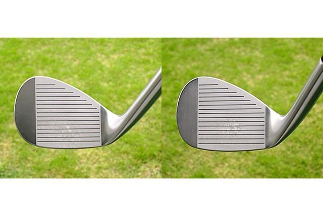 フォーティーン RM-22 ウェッジ フェース画像 「ミドルマッスル・ブレード×デルタ・ソール」(左)、「リバースマッスル・ブレード×リッジ・ソール」(右)