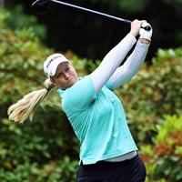 最終日、1打差2位で最終組でプレーするリンシカムのボーイフレンドは身長190センチ以上もあるドラコン選手だ 2016年 KPMG女子PGA選手権 3日目 ブリタニー・リンシコム