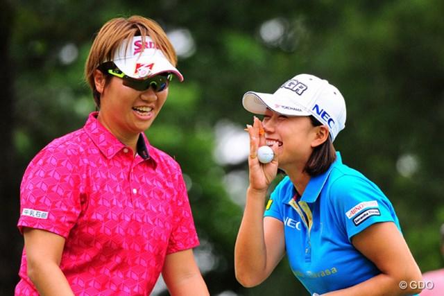 2016年 サントリーレディスオープンゴルフトーナメント 最終日 原江里菜 福田裕子 打順を間違えて謝るエリナール。こういう感じの伸び伸びプレーでスコアも5つ伸び伸びでした