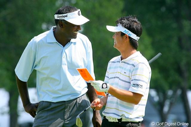 今田竜二とV.シンが同組で練習ラウンドをプレー。今田も、今や世界トップクラスのプレーヤーだ