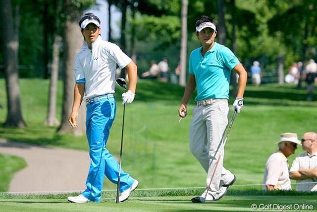 月曜日の練習ラウンドでは、石川遼と今田竜二が2人でプレー。同じカッコでハイポーズ!?