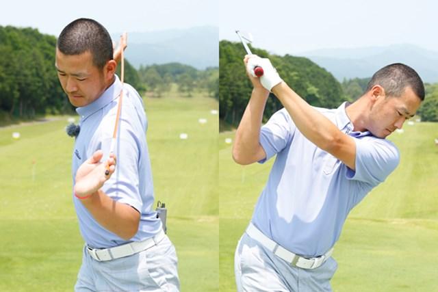 スイングトップでの肩の回転角度90度と、両肘の間隔が真っ直ぐ打つカギです