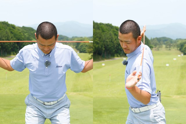 トップで肩が90度回ると、背中はターゲットに正対する形になります