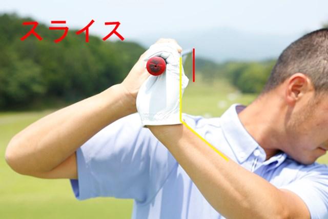 左手甲の向きとフェースの向きは同じ正面となります。インパクトではフェースが右に向いてしまい、スライスの原因になります