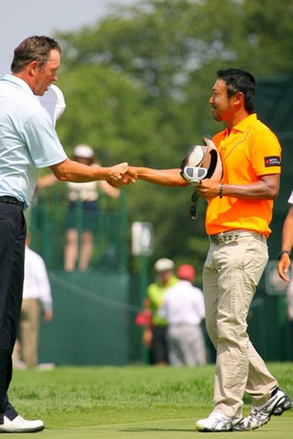 2009年 全米プロゴルフ選手権初日 片山晋呉 3オーバーと出遅れた片山晋呉だが、「悪くは無いし、明日に向けて変えることは無いですよ」と晴れやかだった